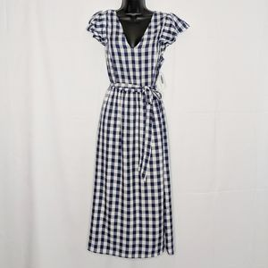 NWT blue and white gingham maxi dress